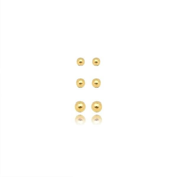 Mix de Brincos Bolinhas Banho Ouro Amarelo 18K