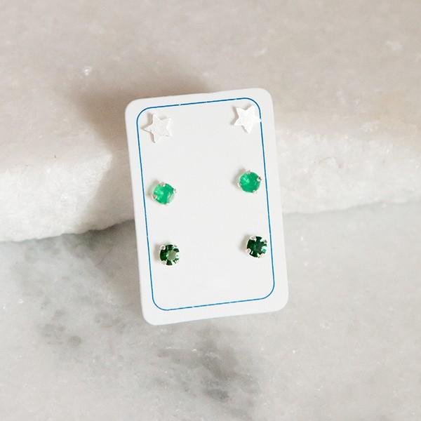Mix de Brincos de Prata 925 Verde