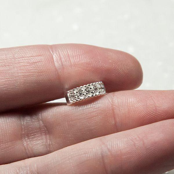 Piercing de Pressão de Prata 4mm com Zirconia