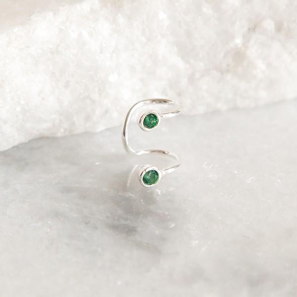 Piercing de Pressão de Prata 925 Jade Verde