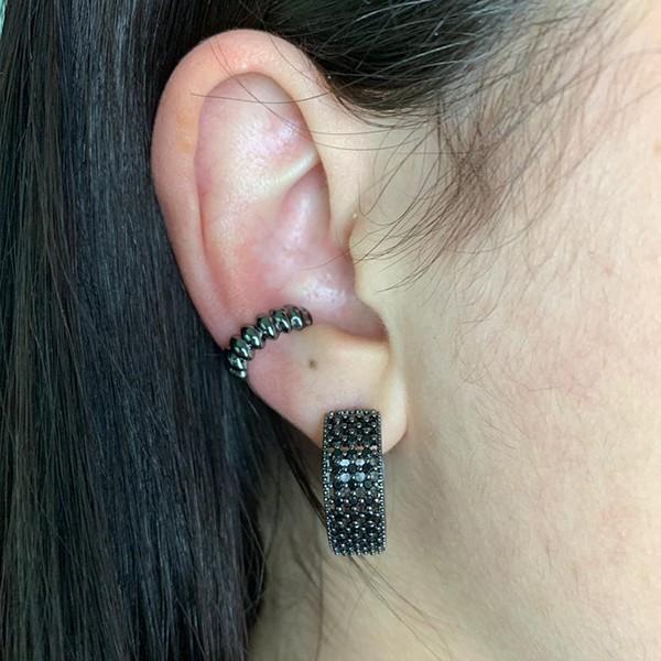 Piercing Fake Detalhes Banho Ródio Negro