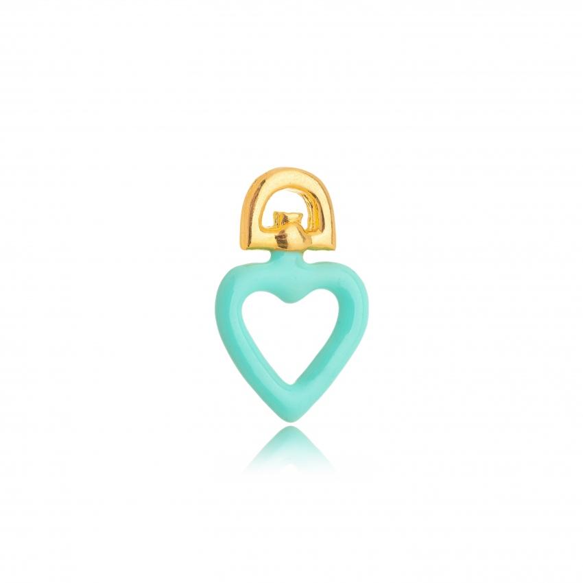 Pingente Coração Esmaltado Color Verde Água