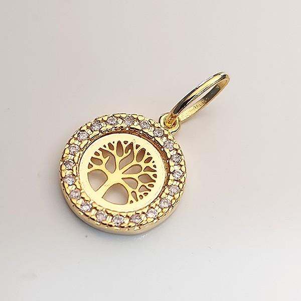 Pingente de Prata 925 Árvore da Vida Banho Ouro 18k