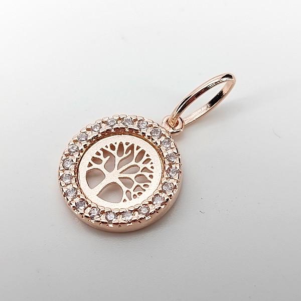 Pingente de Prata 925 Árvore da Vida Banho Ouro Rose