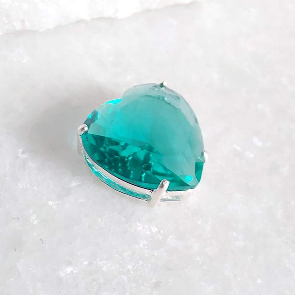 Pingente de Prata 925 Coração M Verde