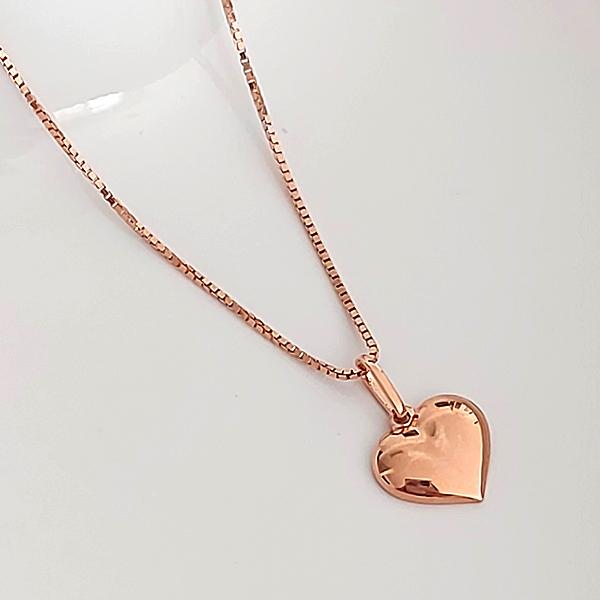 Pingente de Prata 925 Coração Metade Banho Ouro Rose