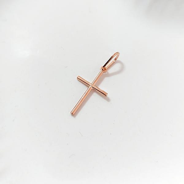 Pingente de Prata 925 Cruz Lisa Banho Ouro Rose