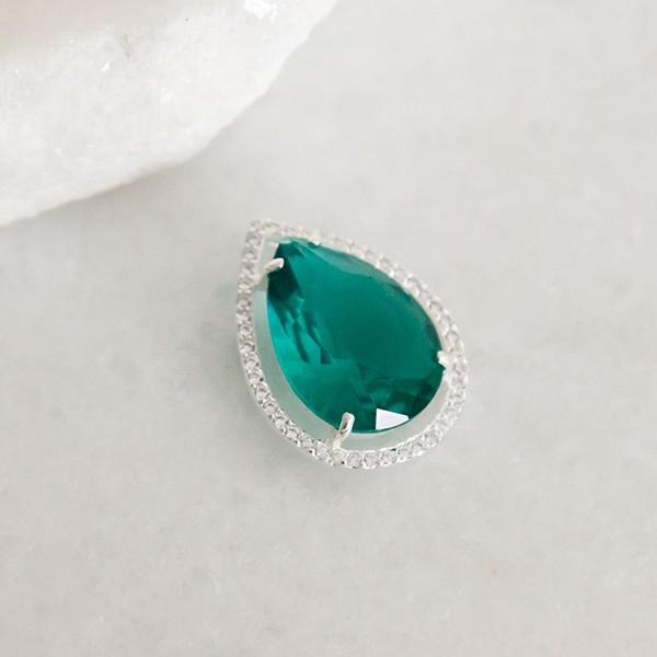 Pingente de Prata 925 Gota Verde