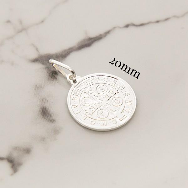Pingente de Prata 925 Medalha São Bento 20mm