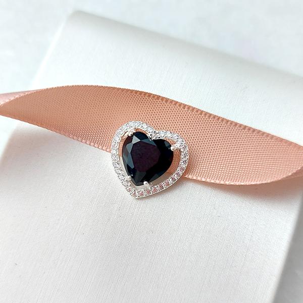 Pingente de Prata 925 Pequeno Coração Ônix