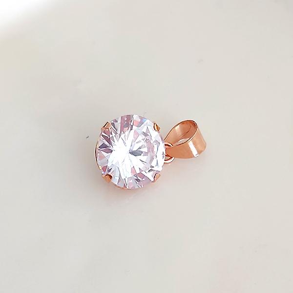 Pingente de Prata 925 Ponto de Luz 9mm Banho Ouro Rose