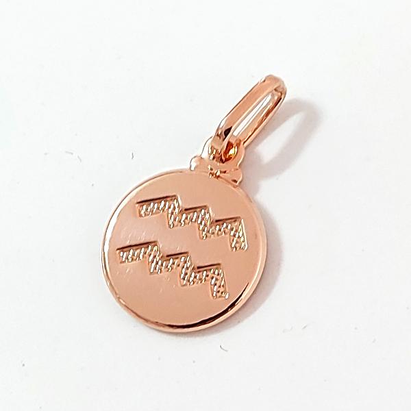 Pingente de Prata 925 Signo Aquário Banho Ouro Rose
