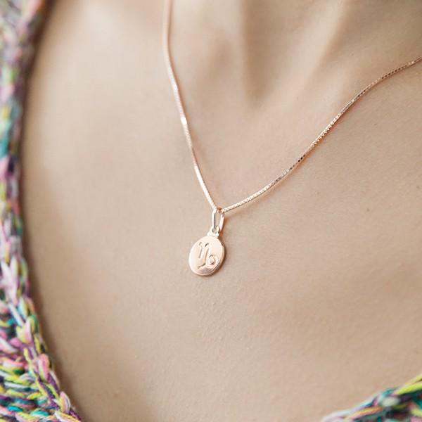 Pingente de Prata 925 Signo Capricórnio Banho Ouro Rose