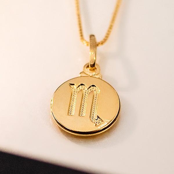 Pingente de Prata 925 Signo Escorpião Banho Ouro 18K