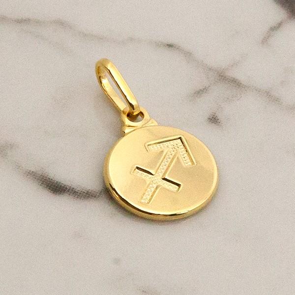 Pingente de Prata 925 Signo Sagitário Banho Ouro 18K