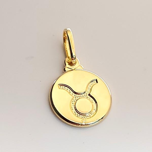 Pingente de Prata 925 Signo Touro Banho Ouro 18k