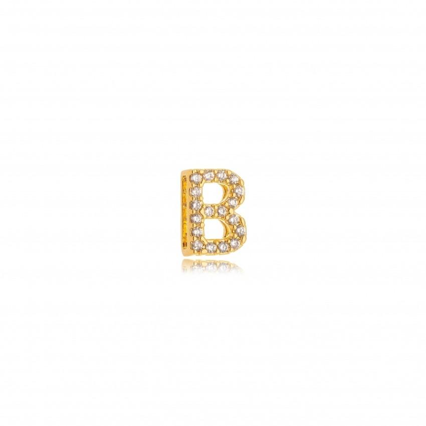 Pingente Letra B Banho Ouro 18k
