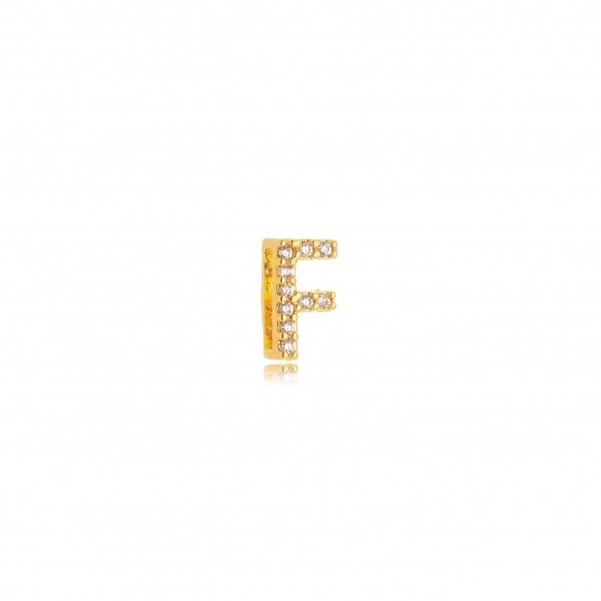 Pingente Letra F Banho Ouro 18k