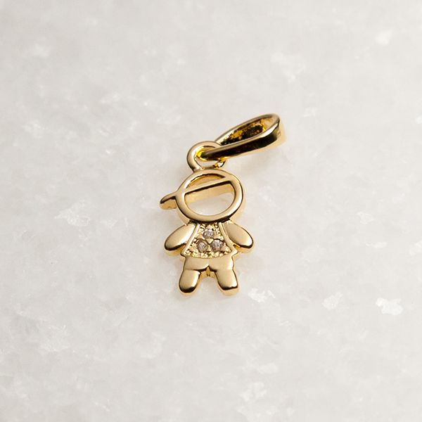 Pingente de Prata 925 Menino Boné Banho Ouro 18K