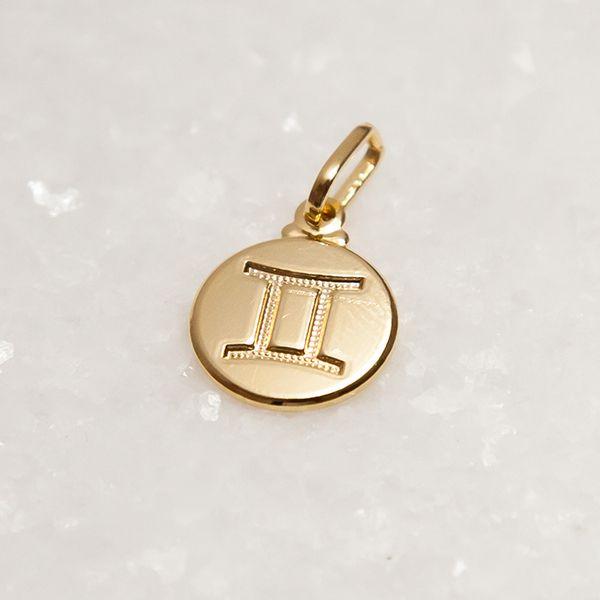 Pingente Signo Gêmeos Prata 925 Banho Ouro 18k