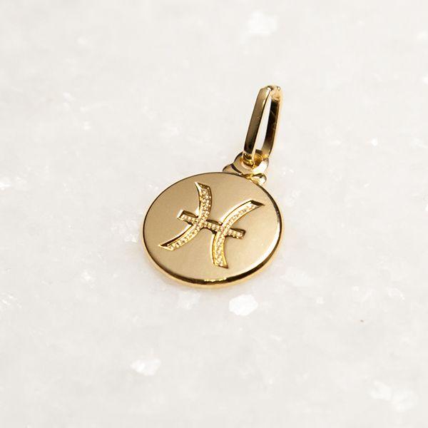 Pingente de Prata 925 Signo Peixes Banho Ouro 18k