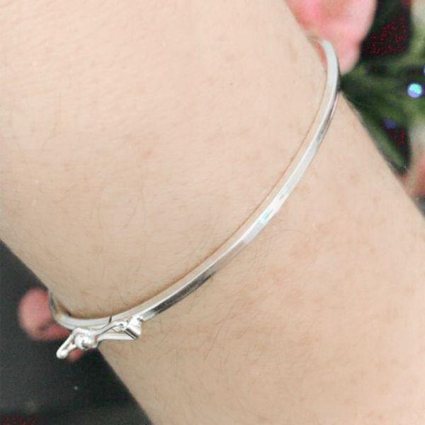 Pulseira de Prata 925 Bracelete Liso 1mm Aro Quadrado Ródio Branco
