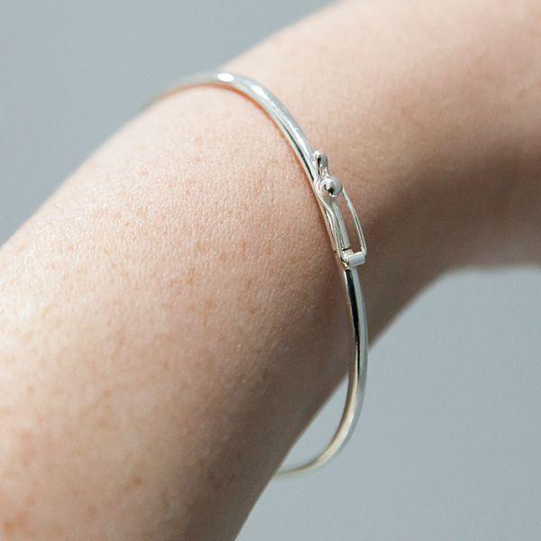 Pulseira de Prata 925 Bracelete Liso 2,5mm Aro Arredondado