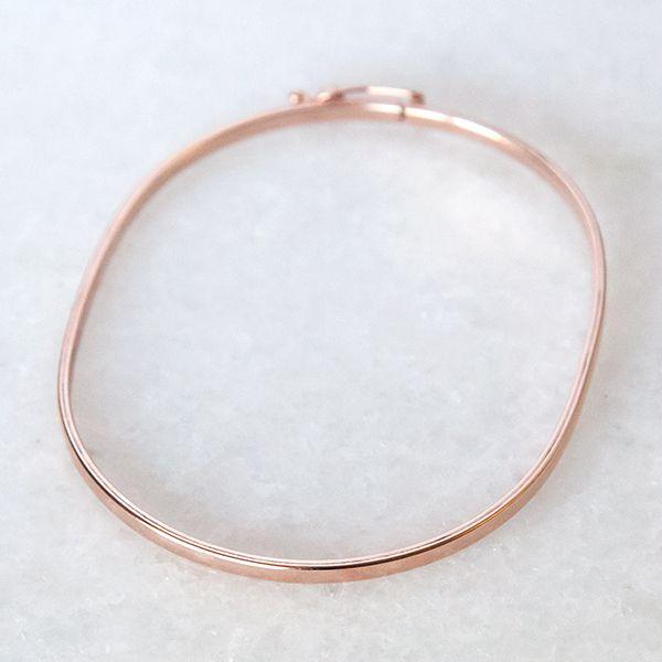 Pulseira de Prata 925 Bracelete 2mm Aro Quadrado Banho Ouro Rose