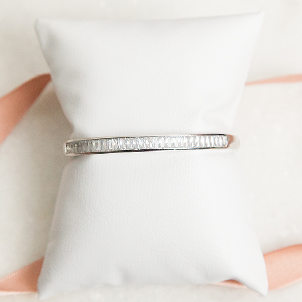 Pulseira Bracelete Cristais Banho Ródio Branco