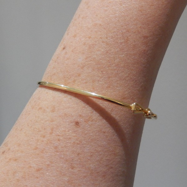Pulseira de Prata 925 Bracelete 1mm Aro Arredondado Banho Ouro 18K
