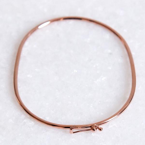 Pulseira de Prata 925 Bracelete 1mm Aro Arredondado Banho Ouro Rose