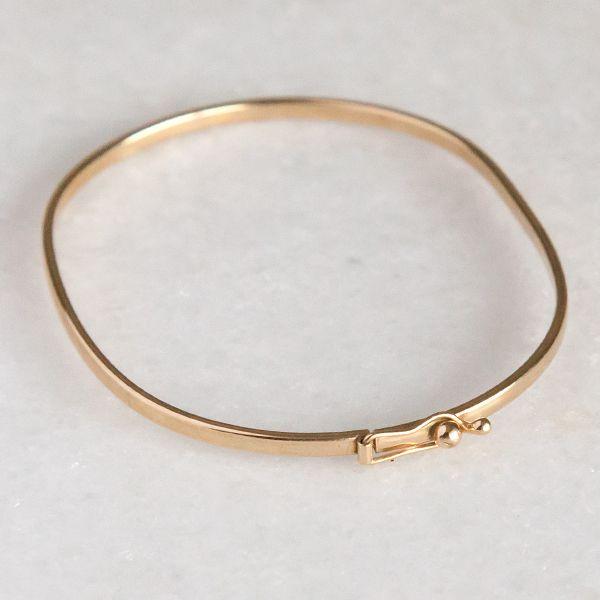 Pulseira de Prata 925 Bracelete 2mm Aro Quadrado Banho Ouro 18K