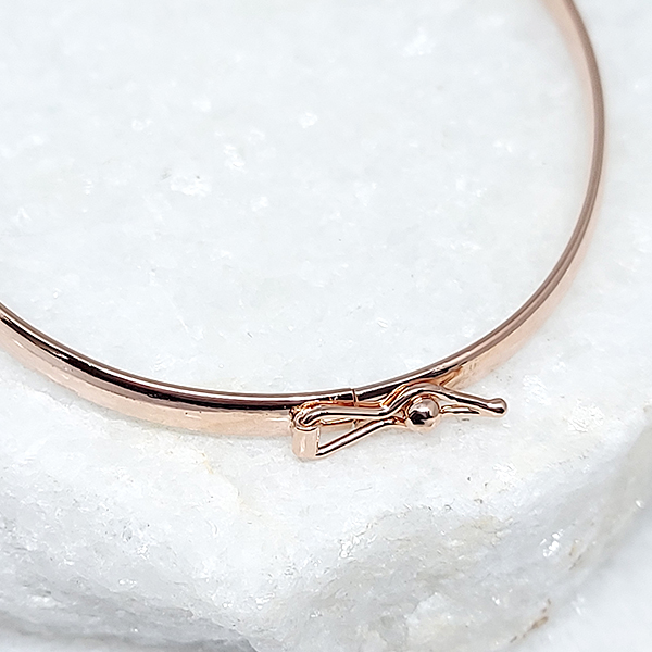 Bracelete Prata 925  5mm Aro Quadrado Banho Ouro Rose