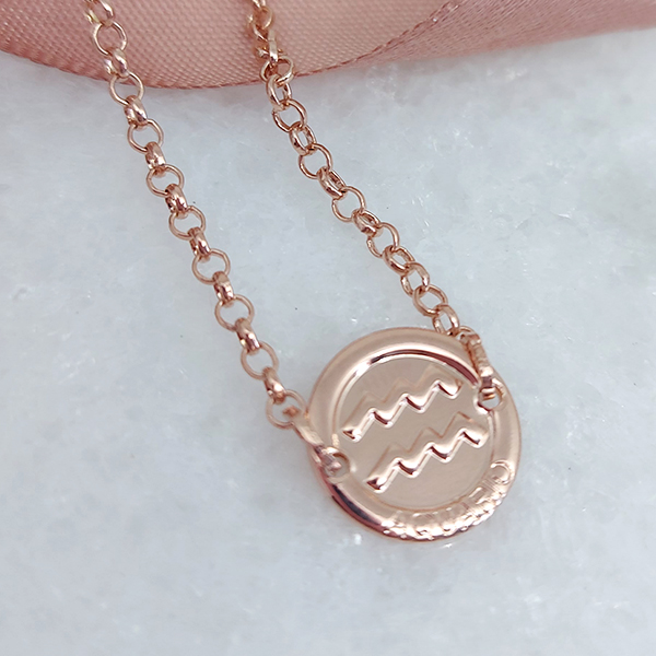Pulseira de Prata 925 Signo Aquário Banho Ouro Rose