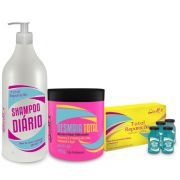 Kit Total Reparação - Uso Diario 1 Shampoo ,1 Mascara , 4 ampolas   Dwell'x