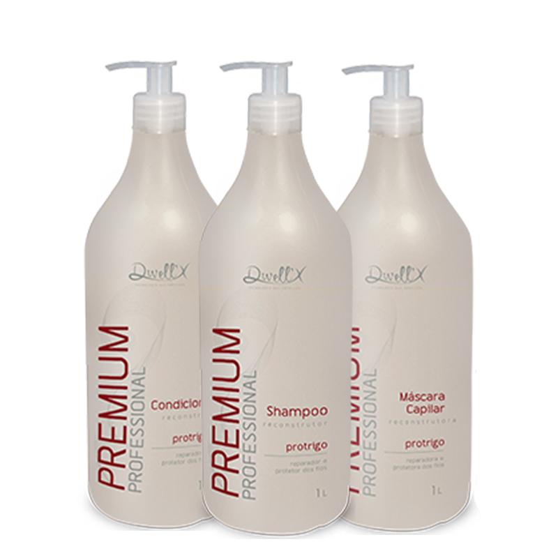Kit Reconstrutor  Shampoo 1L , Condicionador 1L , Mascara 1L Pro Trigo Profissional Dwell'x