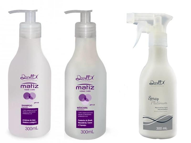 Kit Shampoo  300 ml e Mascara  300 ml  Matiz Home Care + Spray Platinum 300 ml Dwell'X
