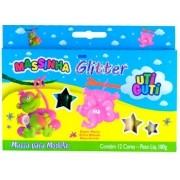 Massinha Com Glitter Uti-Guti Com 12 Cores 180g