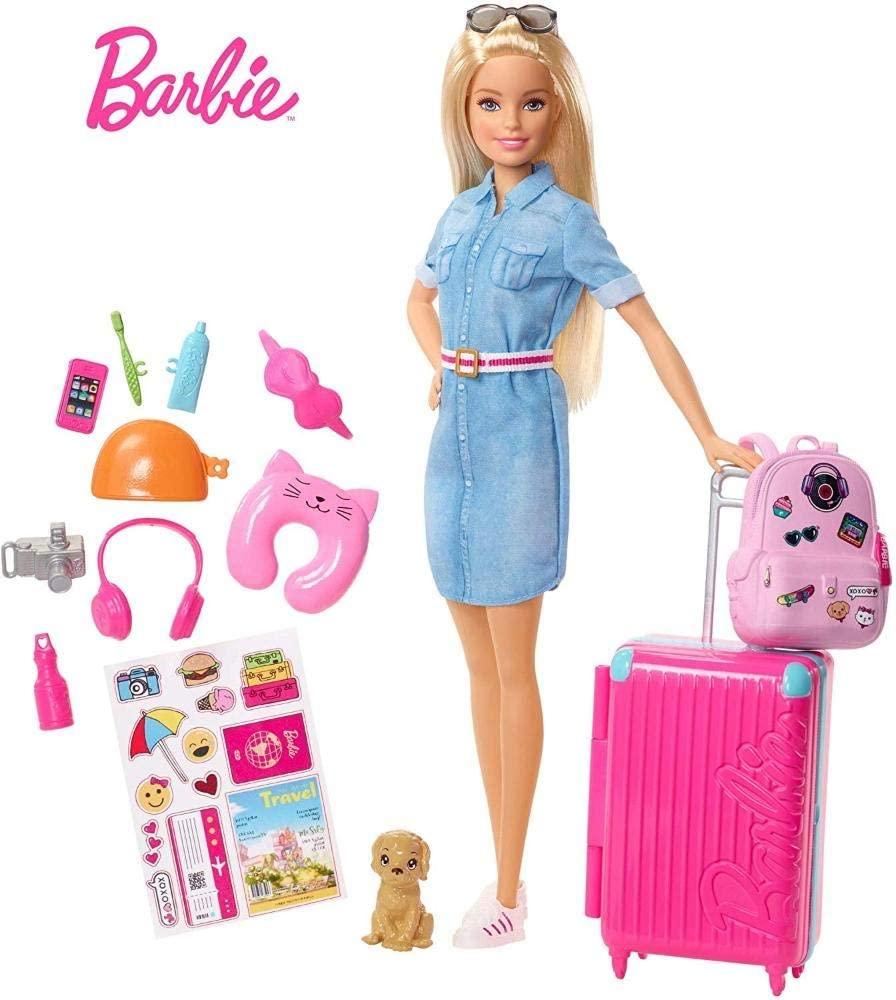 Barbie Viajante Com Pet e Adesivos - Mattel