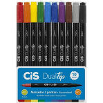 Conjunto Com 10 Cores Caneta Brush Cis Dualtip