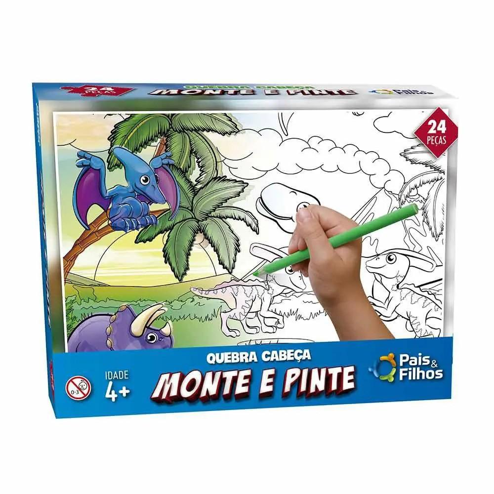 Quebra Cabeça Monte e Pinte Dinossauros 24 Peças