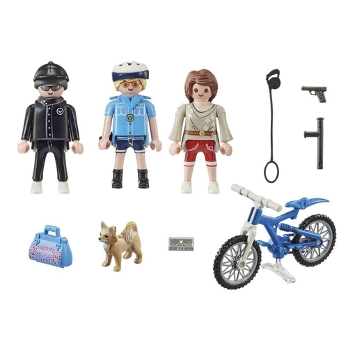 Playmobil City Action Policial Com Bicicleta e Fugitivo - Sunny