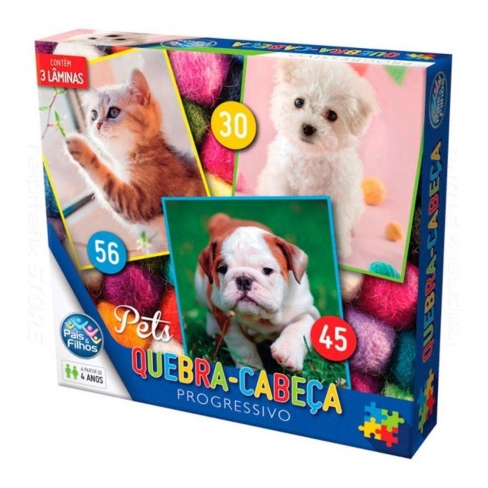 Quebra Cabeça Progressivo Pets 30/45/56 Peças