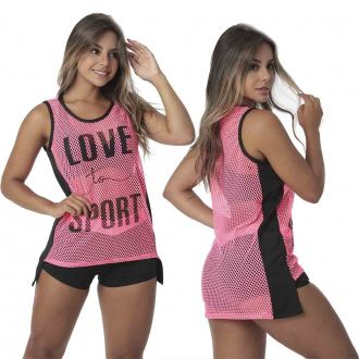 BLUSA FITNESS TELA C/ SILK - LOVE TO SPORTS