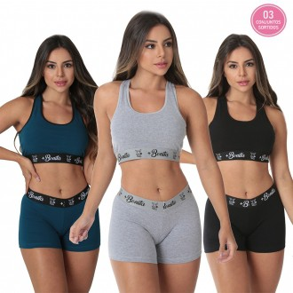KIT PROMOCIONAL 03 CONJUNTOS TOP+SHORT *SORTIDOS*