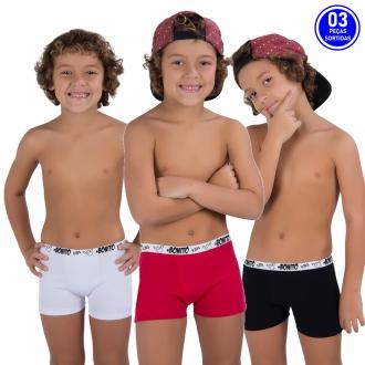 KIT PROMOCIONAL 03 CUECAS INFANTIL BOXER ALGODÃO *SORTIDOS*