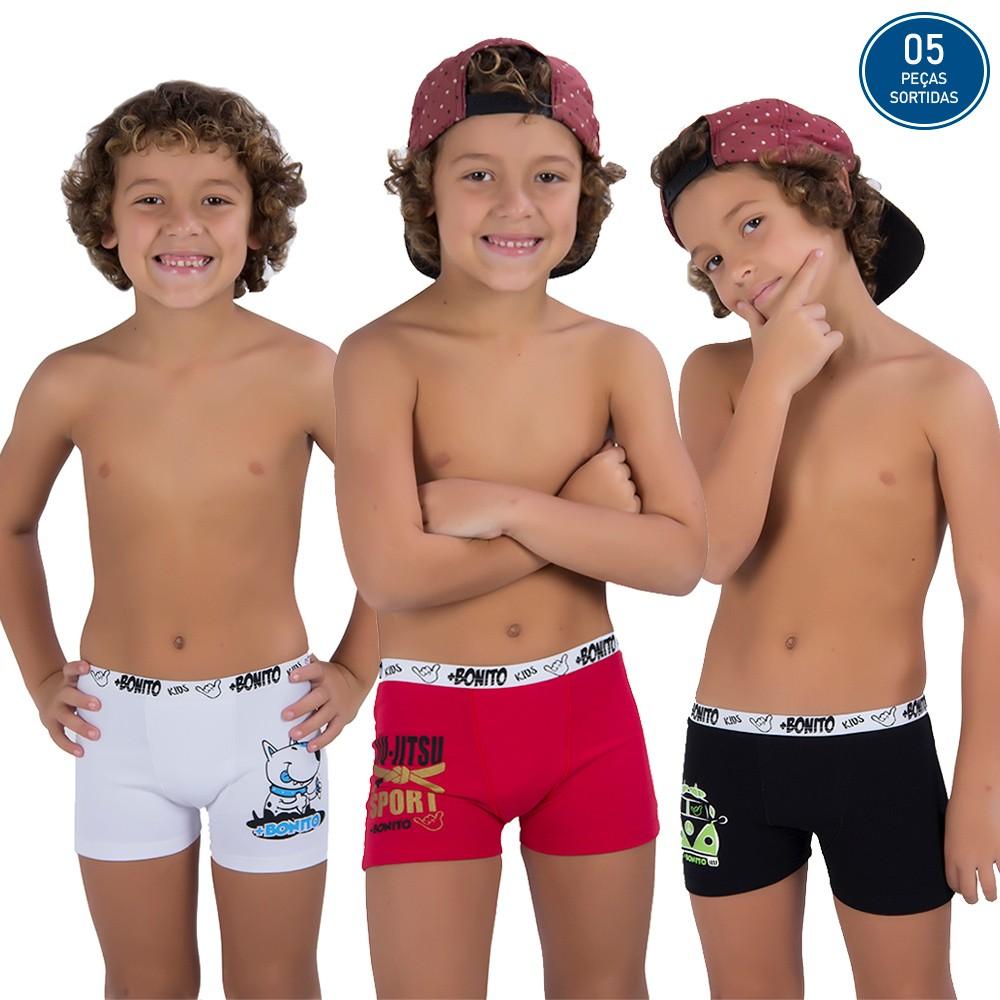 KIT PROMOCIONAL 05 CUECAS INFANTIL BOXER ALGODÃO *SORTIDOS*