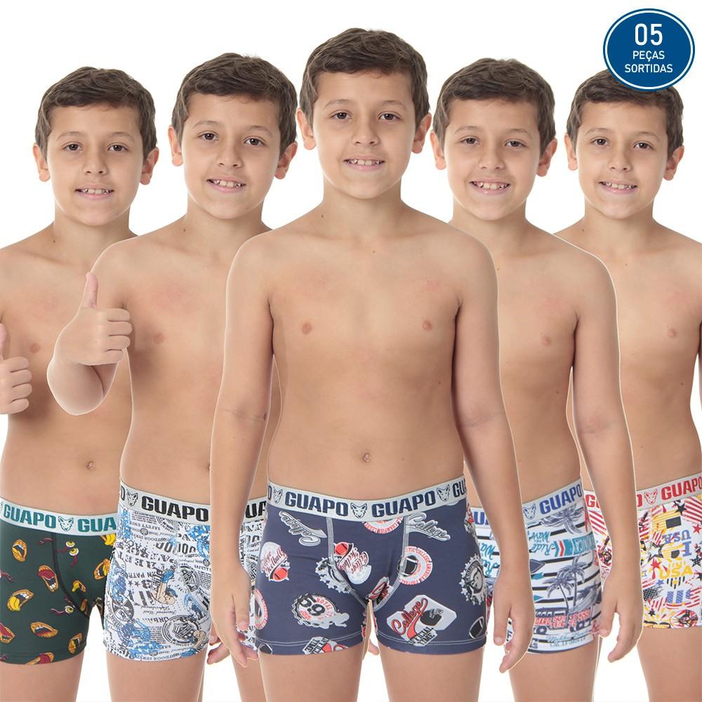 KIT PROMOCIONAL 05 CUECAS INFANTIL BOXER MICROFIBRA *SORTIDOS*