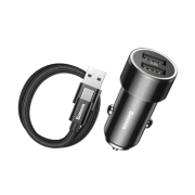 Baseus Small Screw 3.4A Dual-USB Tipo-C Conjunto de carregamento de carro