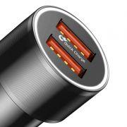 Baseus Small Screw Dual-USB Carregador de carro de carga rápida 36W